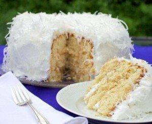 Low carb coconut snowball cake