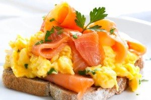 scrambled eggs & salmon