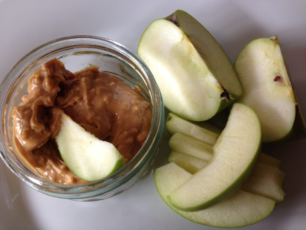 peanut butter and Granny smith apple snack
