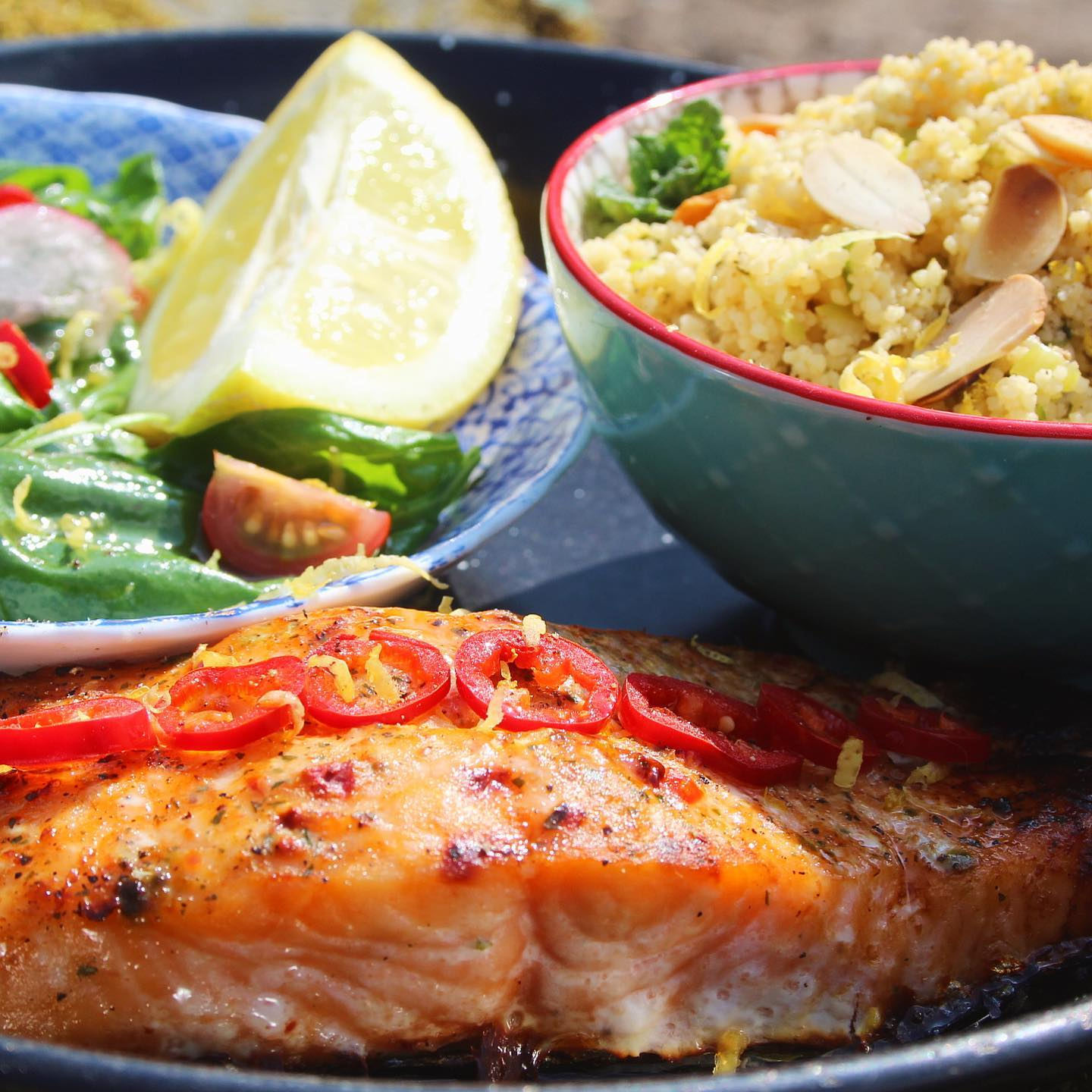 Chilli salmon and zesty couscous with green salad