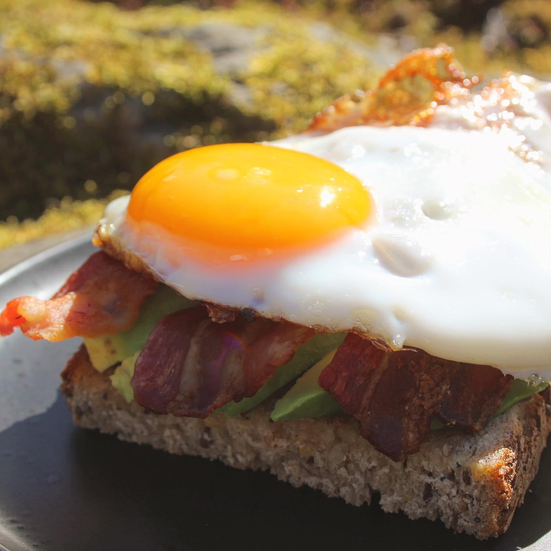 avocado egg bacon toast