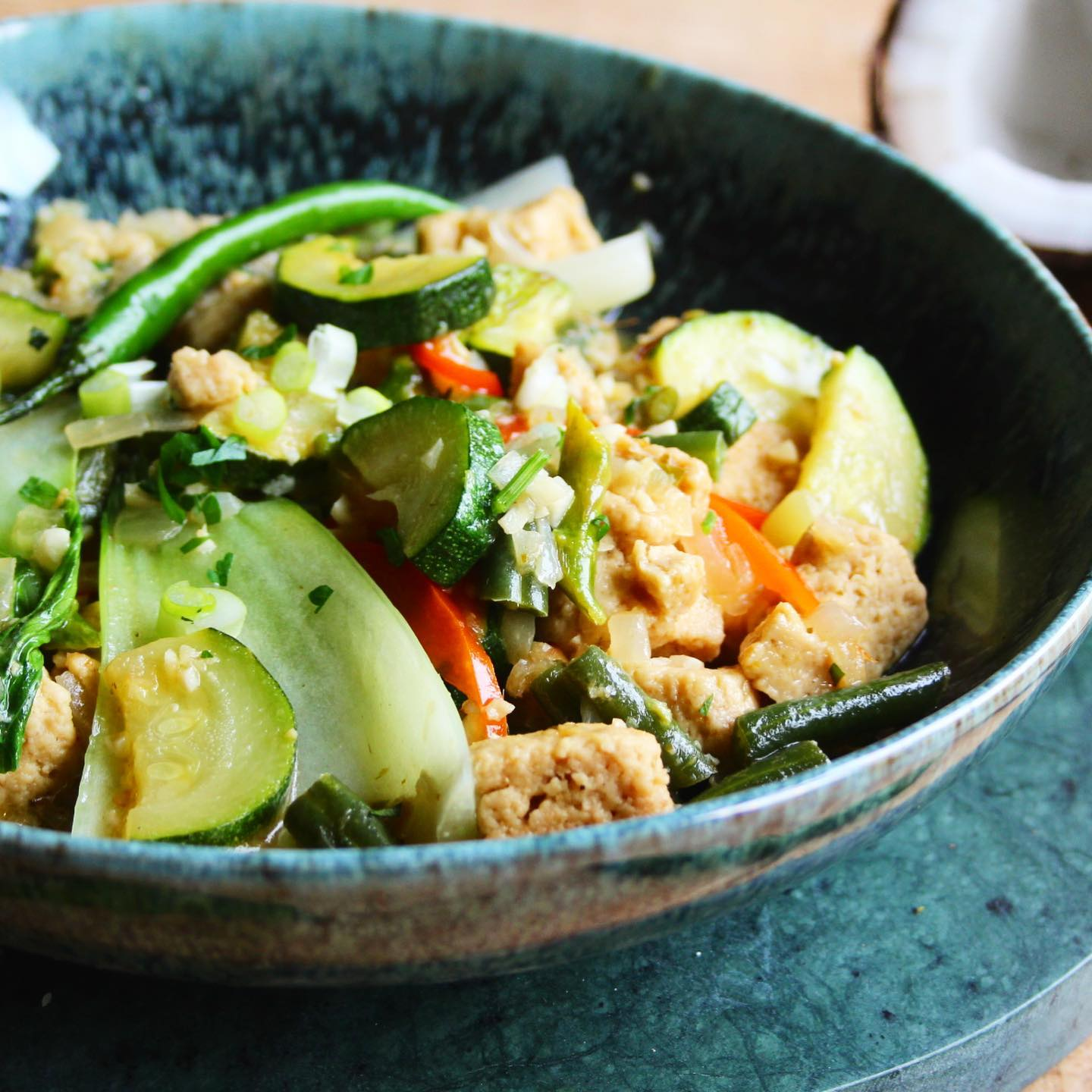 bowl of low carb thai green curry close up