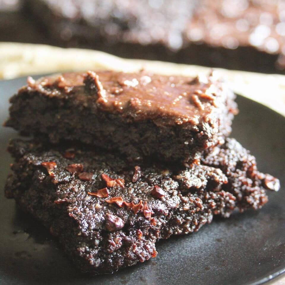 GD Brownies Vegan Version two brownies on a black plate