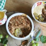 Gooseberry Crumble with jug of custard