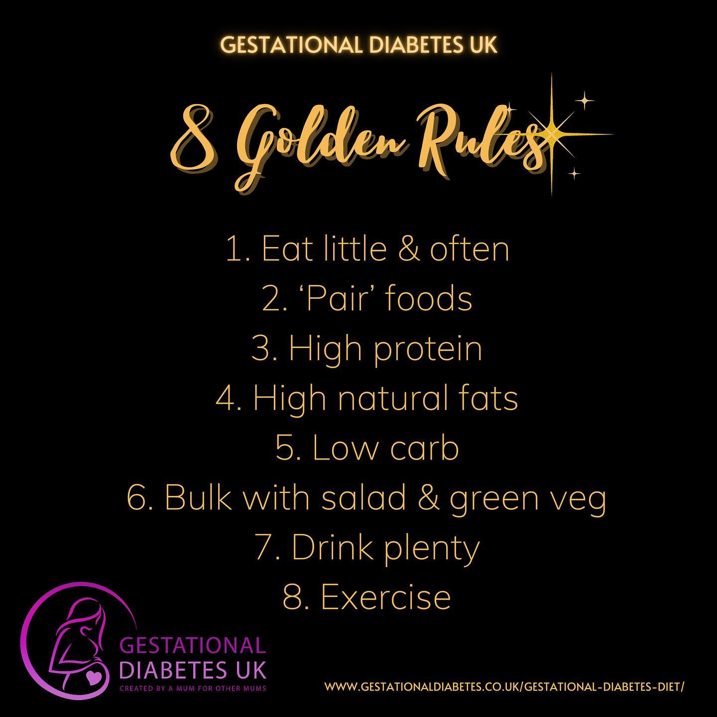 list of the GD UK 8 Golden Rules for a gestational diabetes diet