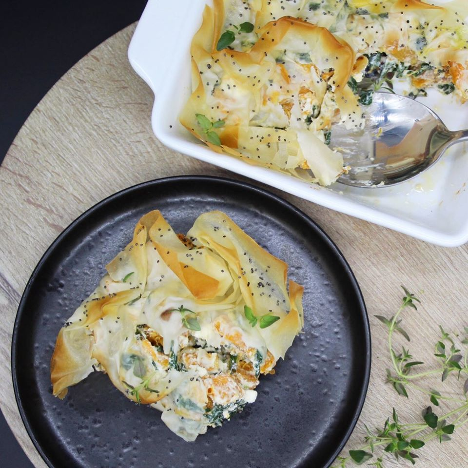 Roasted butternut squash spinach ricotta feta pie