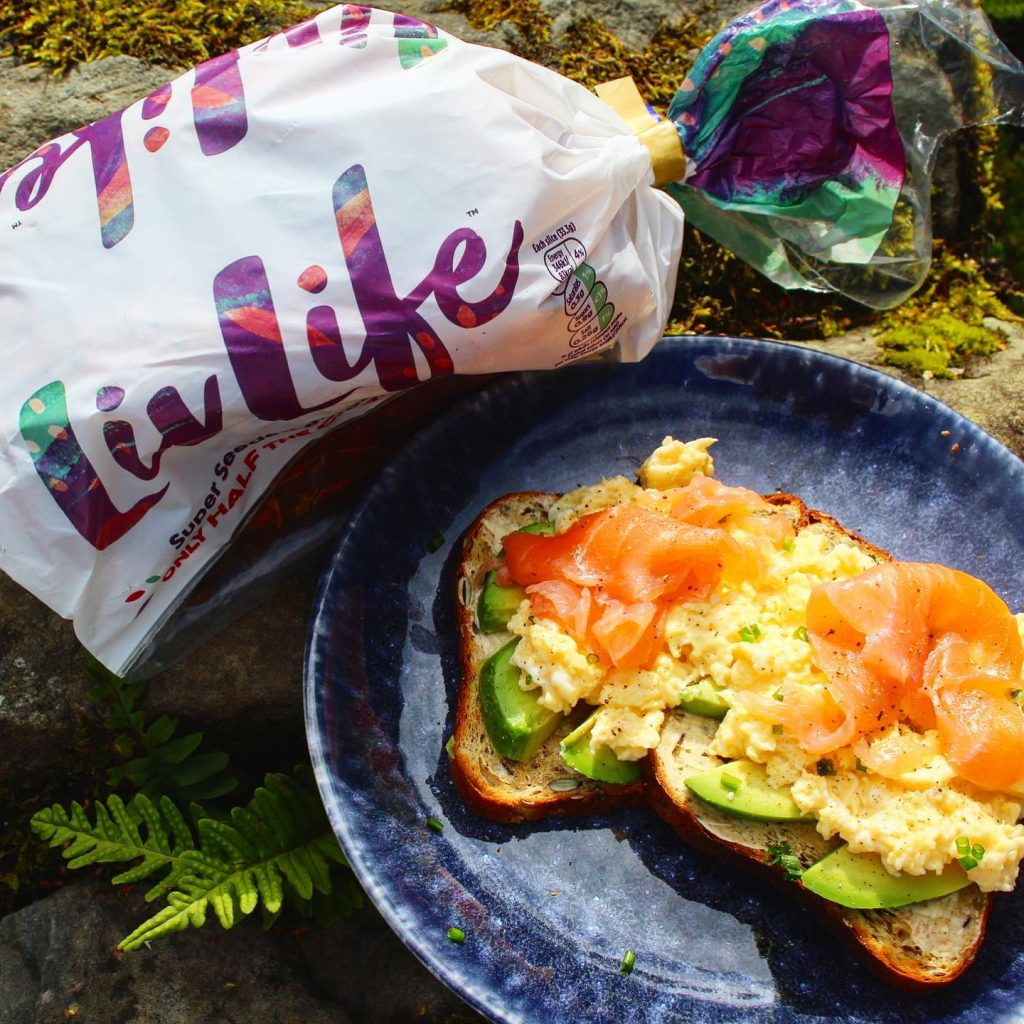 LivLife bread toasted with avocado eggs avocado and smoked salmon