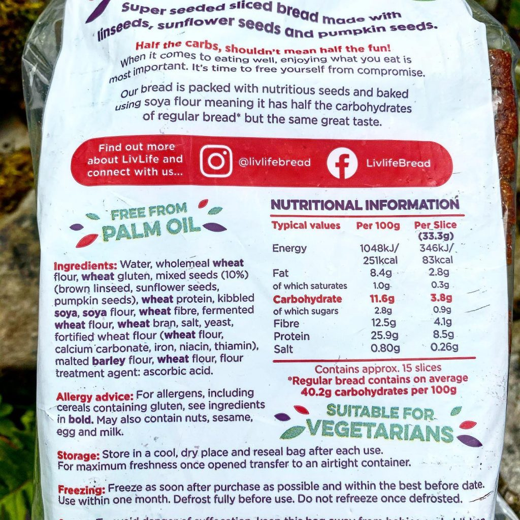 Livlife bread nutritional info