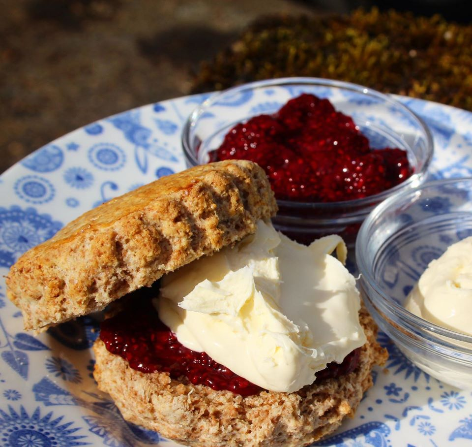 Wholemeal Spelt Scones with chia jam & clotted cream