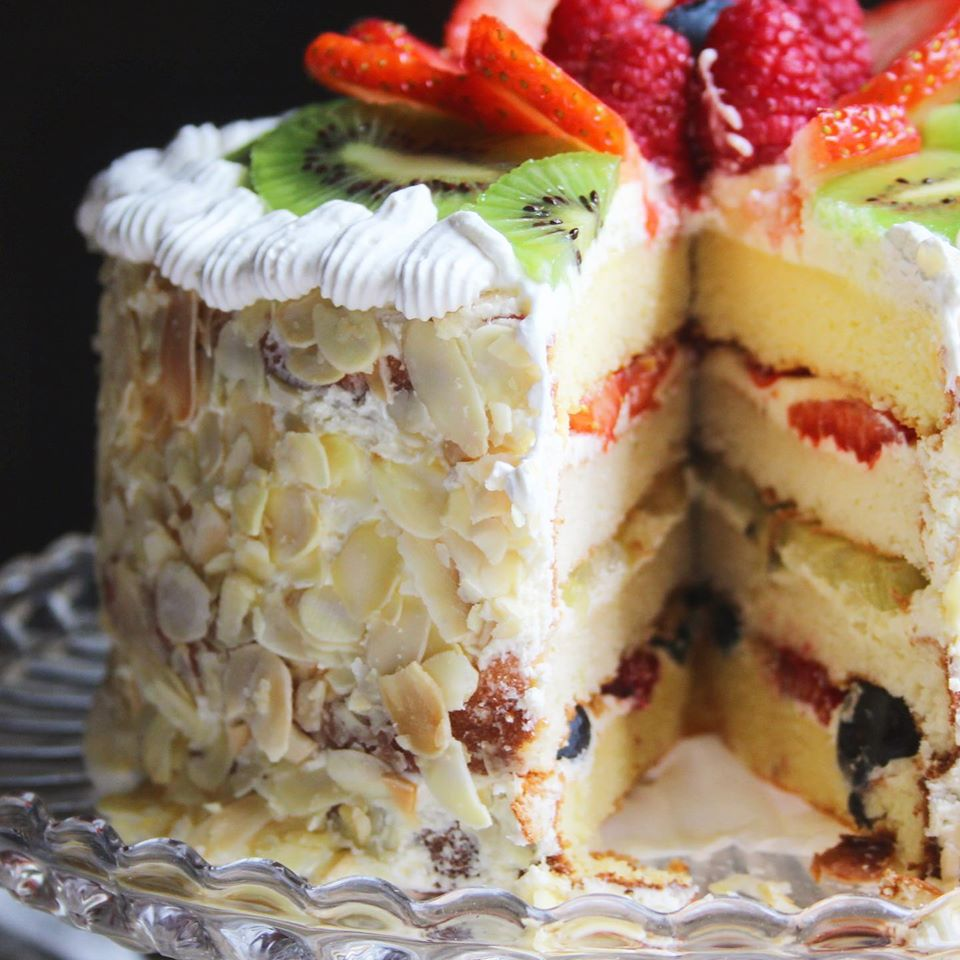 Chinese Fruit Cake Cut