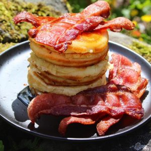 coconut flour pancakes with bacon and sugar free syrup
