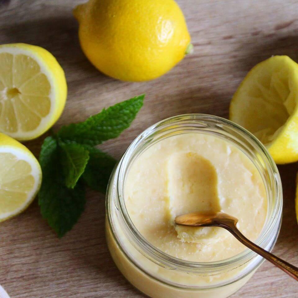 sugar free lemon curd with spoon