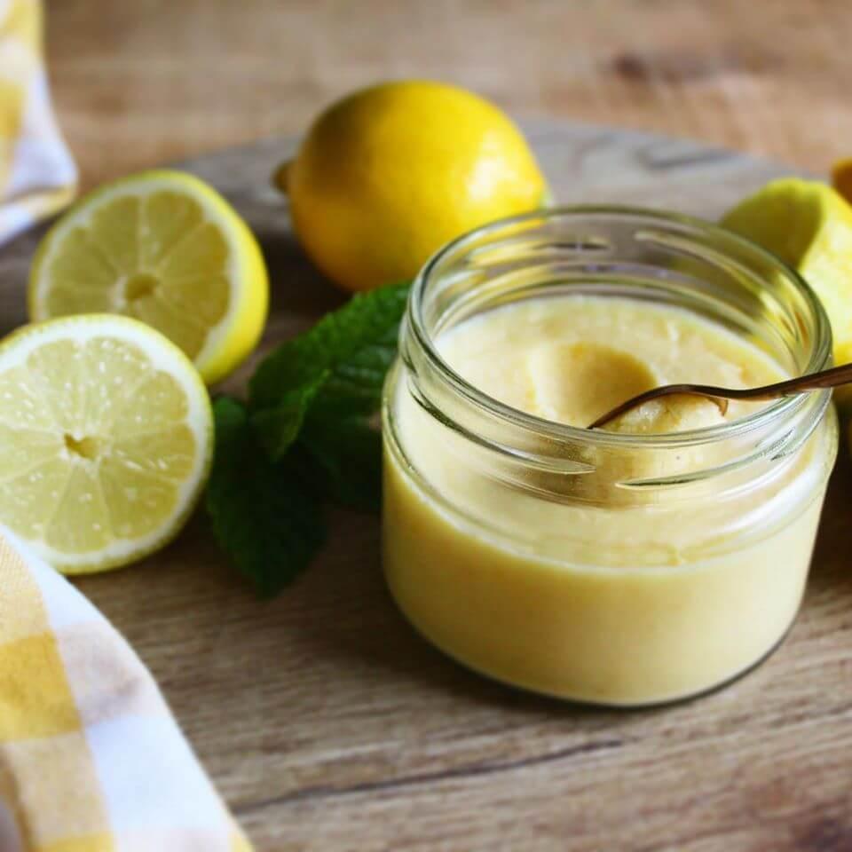 Sugar free lemon curd in jar