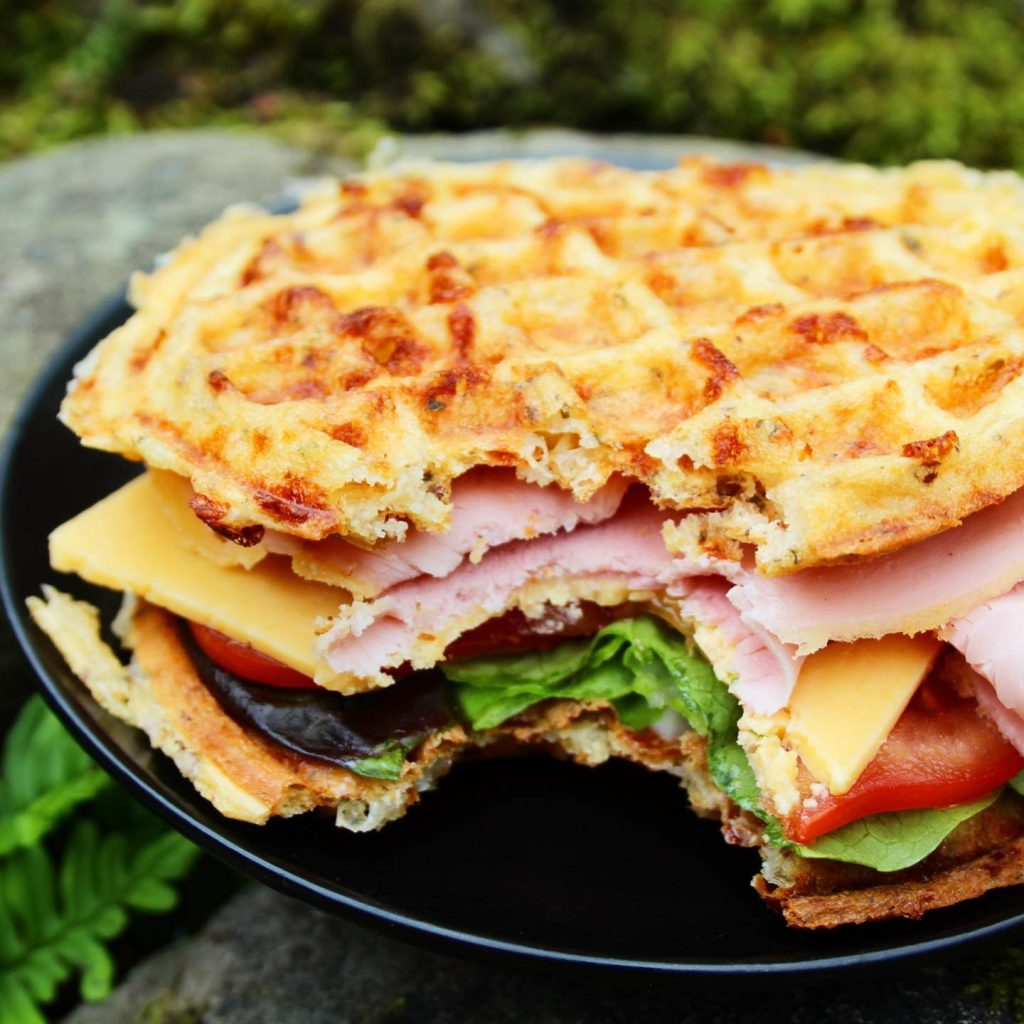 Chaffles filled with ham and cheese salad