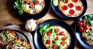 GD Friendly pizzas on plates