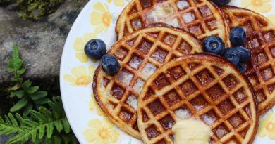 coconut flour flaxseed waffles with butter blueberries and sugar free syrup