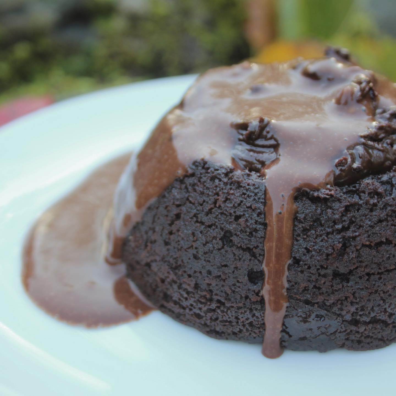 Chocolate sponge pudding with chocolate custard