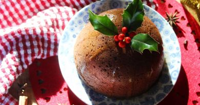 Christmas steamed ginger pudding topped with holly