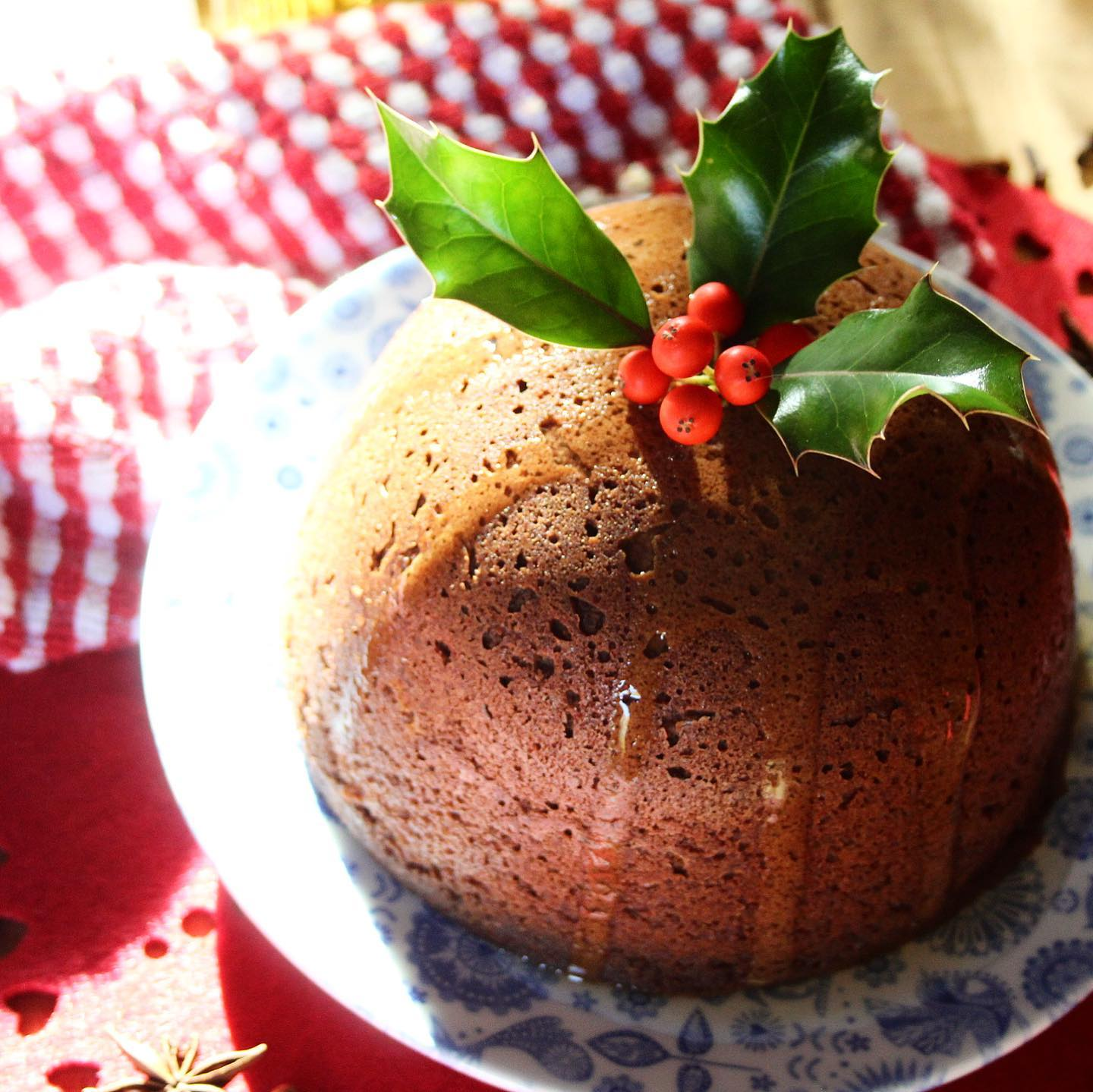 Christmas steamed ginger pudding