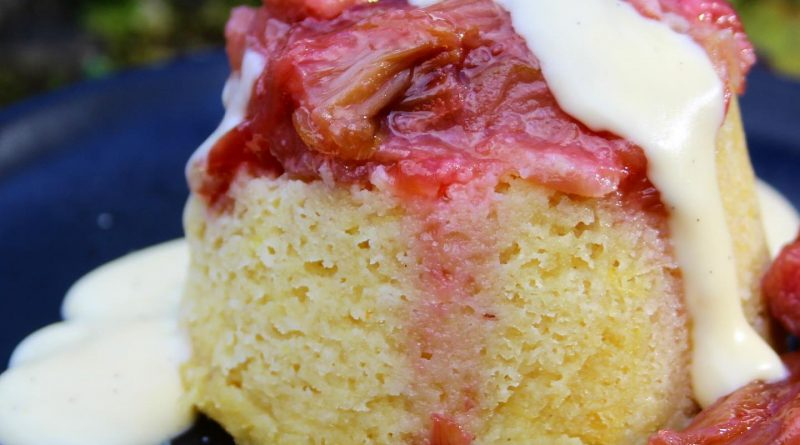 rhubarb and ginger pudding with custard