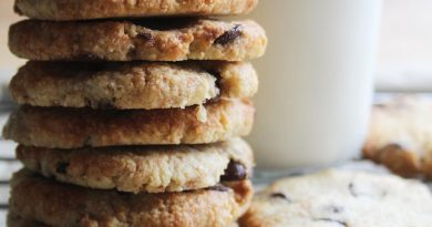stack of low carb choc chip cookies