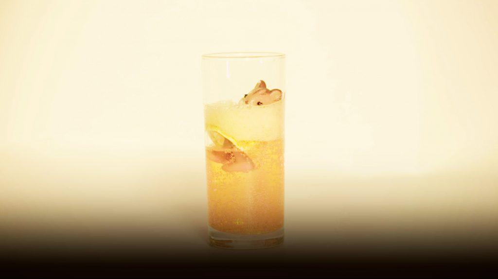 Sylvanian family figure drowning in orange fizzy drink