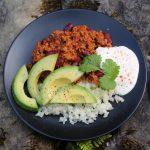 chilli con carne with avocado and cauliflower rice