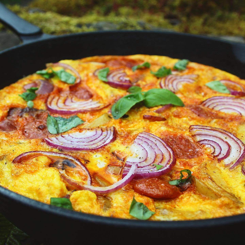Red Onion and Chorizo Spanish Tortilla